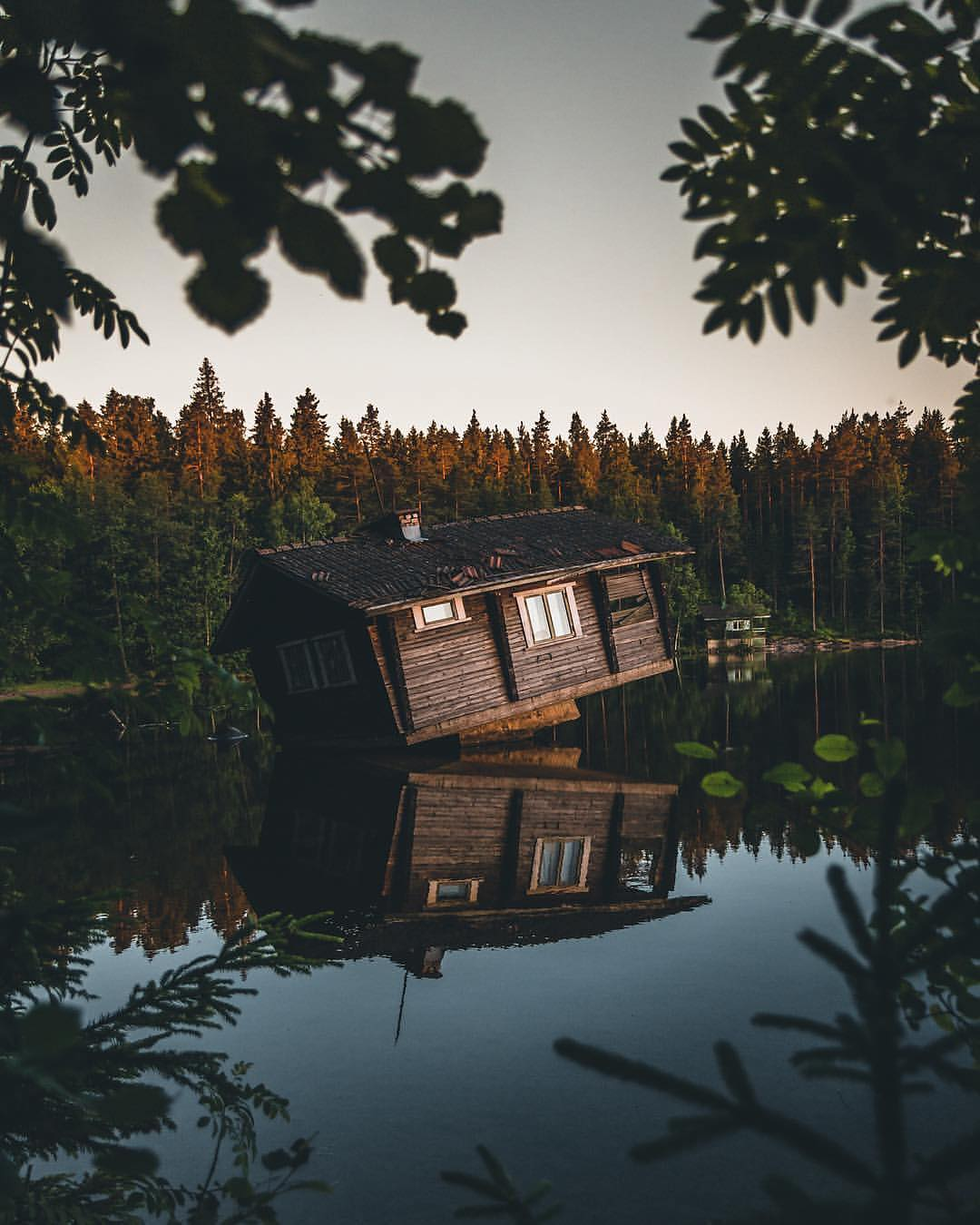 Cabin in the middle of the lake. Seems legit! Only in Finland   #discoverearth…