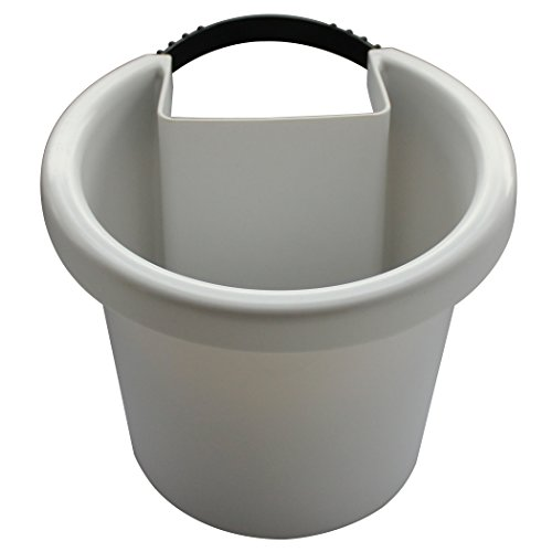 White Hugger Pot – Hanging Planter ATTACHES TO RAIN PIPE and turns it into a VERTICAL GARDEN (Fastening Strap Included, approx 7″w x 6″h x 7″d)
